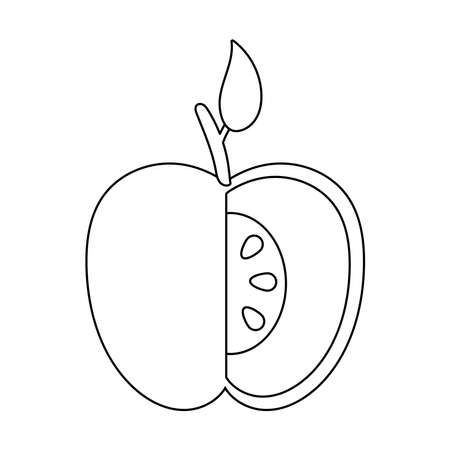 apple fresh without a portion fruit nature line style icon vector illustration design
