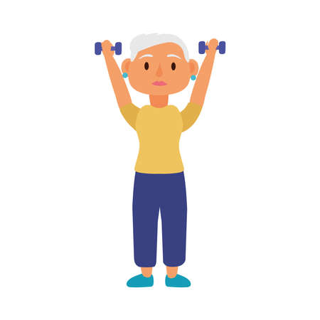 old woman lifting dumbbells avatar character vector illustration design