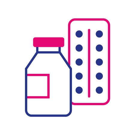 drugs pills bottle line and fill style icon vector illustration design