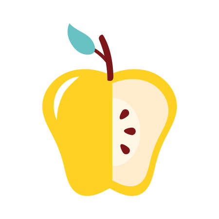 yellow apple without a portion fresh fruit nature icon vector illustration design