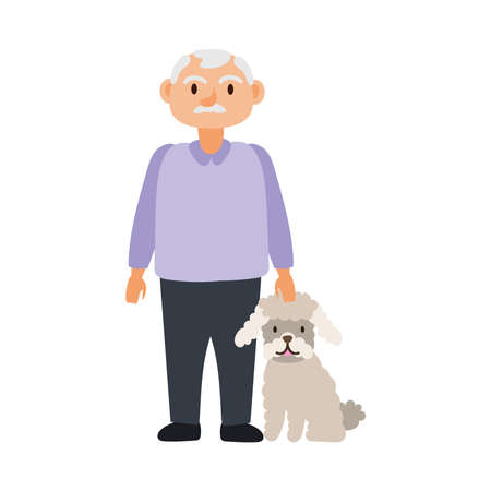 old man with dog pet avatar character vector illustration design