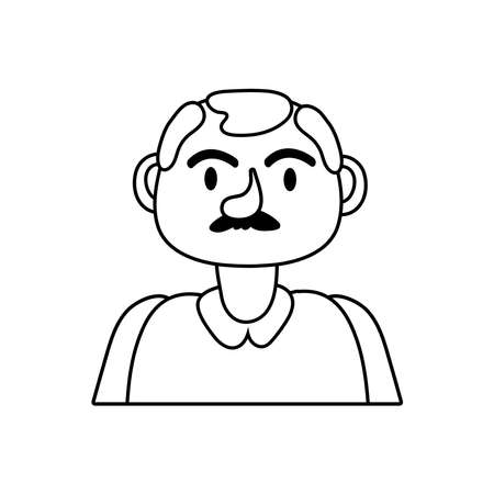 old man person character line style icon vector illustration design
