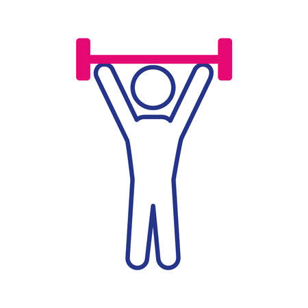 avatar lifting weight line and fill style icon vector illustration design