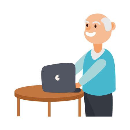 old man using laptop avatar character vector illustration design Ilustración de vector