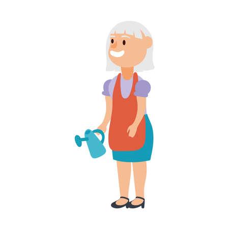old woman with gardening sprinkler pot avatar character vector illustration design Illusztráció