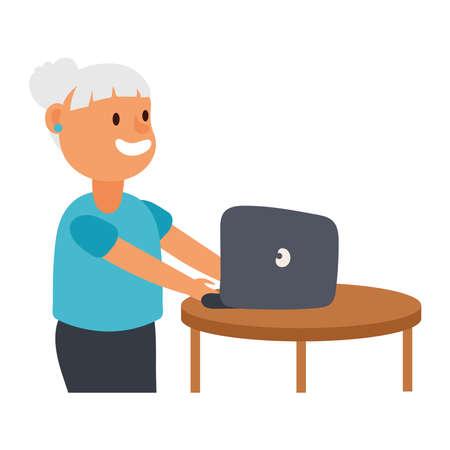 old woman using laptop avatar character vector illustration design 矢量图像
