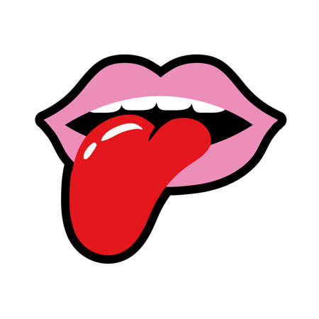 mouth with tongue out pop art style icon vector illustration design