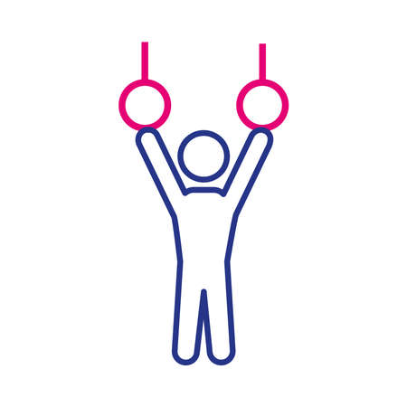 person practicing exercise in rings line and fill style vector illustration design
