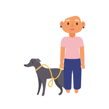 old woman with dog pet avatar character vector illustration design
