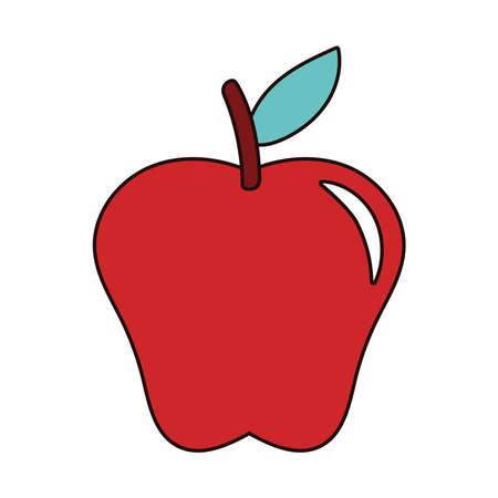 apple red fresh fruit nature icon vector illustration design