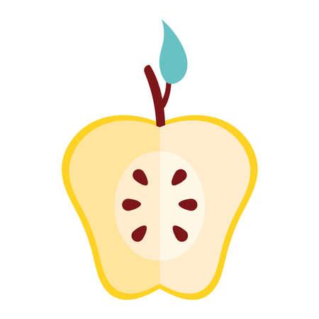 half yellow apple fresh fruit nature icon vector illustration design