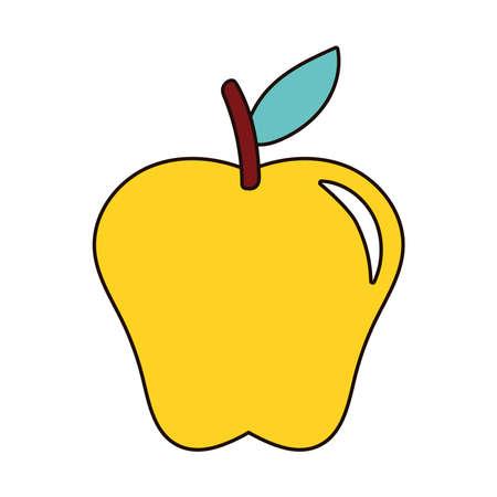 yellow apple fresh fruit nature icon vector illustration design Ilustracja
