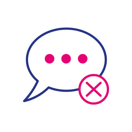 speech bubble with denied symbol line and fill style vector illustration design