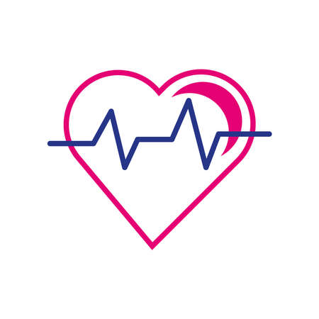 heart cardio line and fill style icon vector illustration design 向量圖像