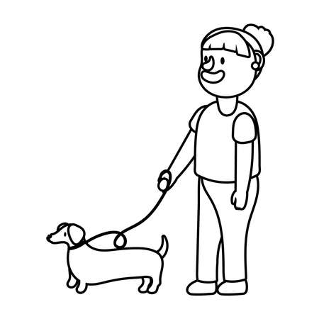 old woman with dog pet line style icon vector illustration design