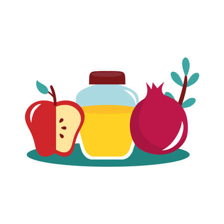 honey in jar with apple and pomegranate vector illustration design
