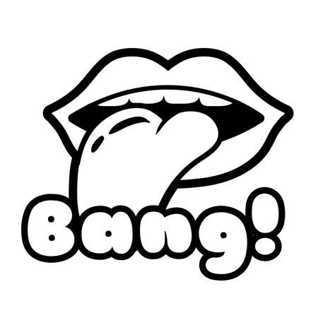 mouth with tongue out and bang word pop art line style icon vector illustration design 向量圖像