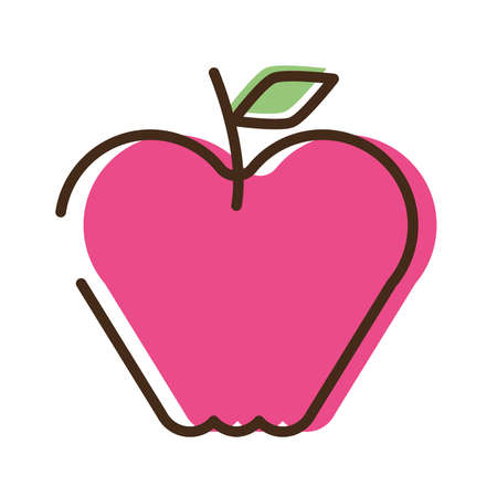 apple fresh fruit line and fill style icon vector illustration design