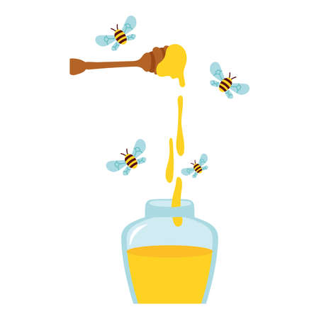 honey in wooden spoon with bees flying and bottle vector illustration design 向量圖像