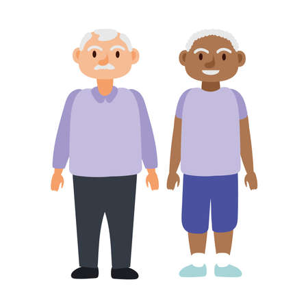 interracial old men group avatars characters vector illustration design 免版税图像 - 157608467