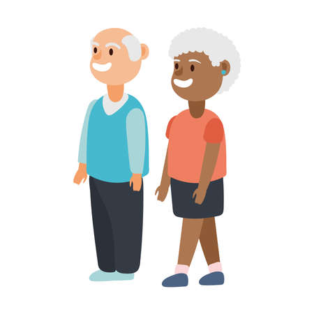 interracial old couple persons avatars characters vector illustration design