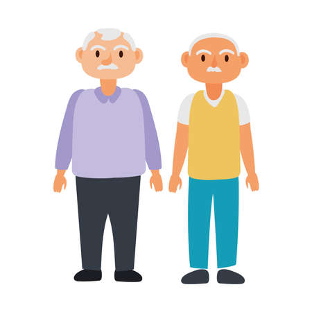 old men group avatars characters vector illustration design