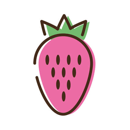 strawberry fruit line and fill style icon vector illustration design