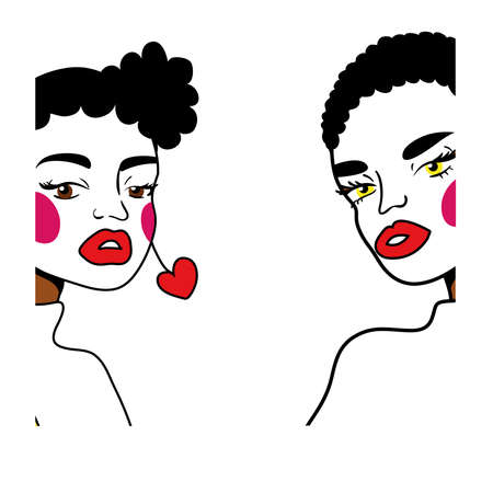 afro girls couple fashion pop art line style vector illustration design