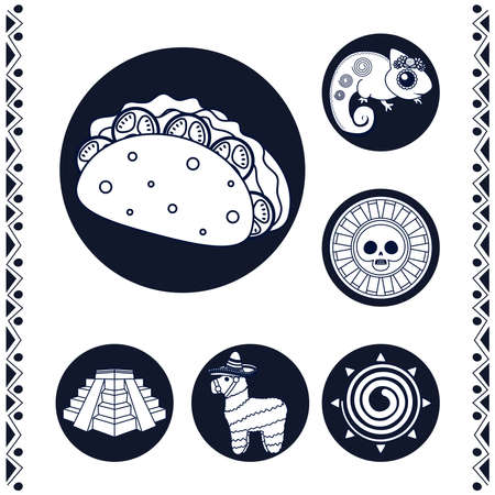 mexican taco and set line style icons vector illustration design 矢量图像