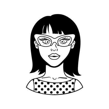 woman wearing glasses pop art style icon vector illustration design  イラスト・ベクター素材