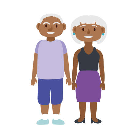 afro old couple persons avatars characters vector illustration design