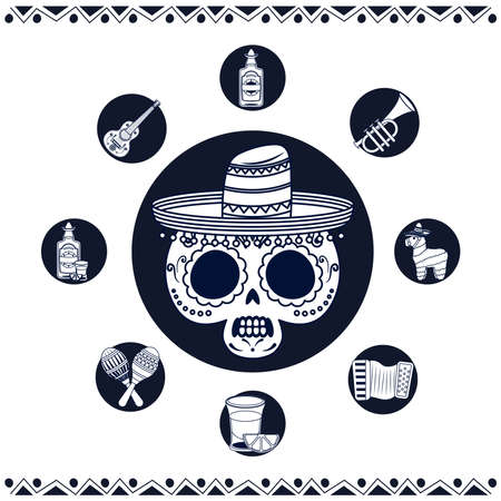 mexican mariachi skull with set line style icons vector illustration design 矢量图像