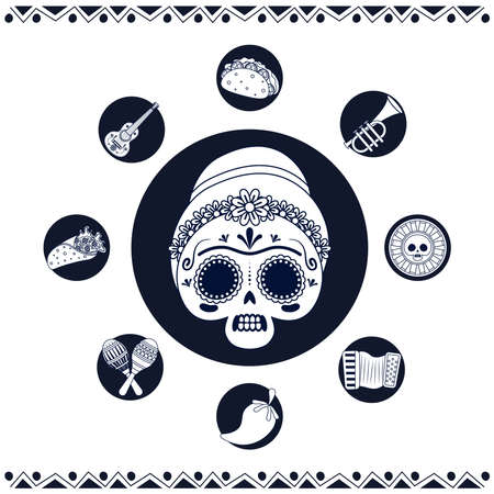 mexican woman skull and set line style icons vector illustration design 矢量图像