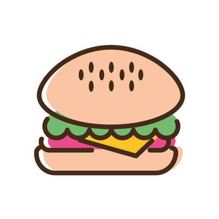 delicious burger fast food line and fill style icon vector illustration design Ilustrace