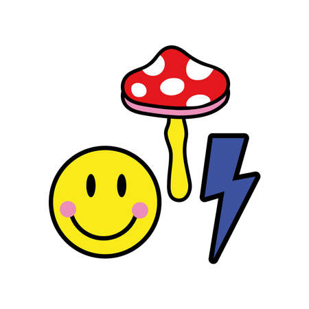 fungus with emoji and ray pop art style icon vector illustration design