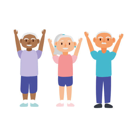 interracial old people persons avatars characters vector illustration design