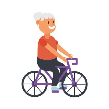 old woman riding bike avatar character vector illustration design Illusztráció