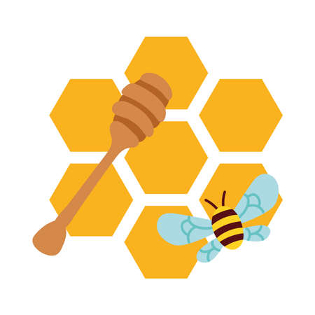 forms of honey sweet with bee flying vector illustration design