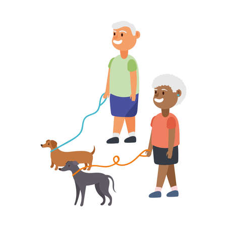 interracial old couple walking with dogs mascots characters vector illustration design Ilustração