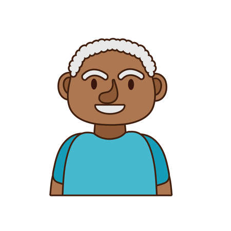 old afro man person avatar character vector illustration design