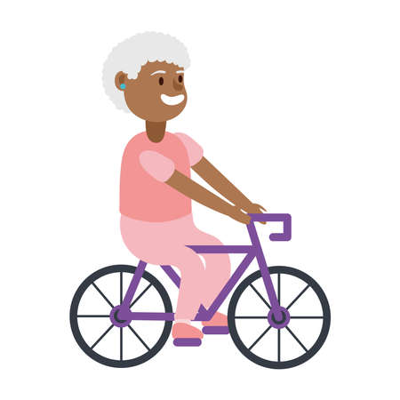 old afro woman riding bicycle avatar character vector illustration design