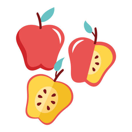 apples red fresh fruits nature icons vector illustration design Ilustrace