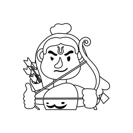 rama god with arch character line style vector illustration design