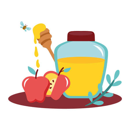honey in jar with apples and bee flying vector illustration design Ilustrace