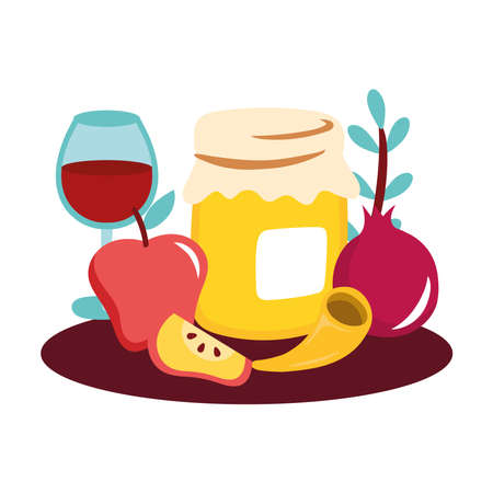 sweet honey pot with fruits and wine cup vector illustration design