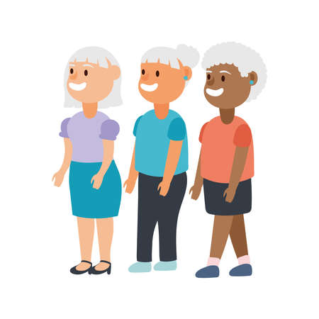 interracial old women group avatars characters vector illustration design Ilustração