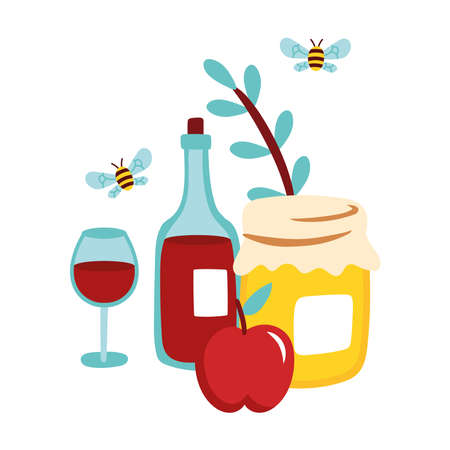 sweet honey pot wine and bee flying vector illustration design Ilustrace