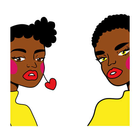 afro girls couple fashion pop art style vector illustration design