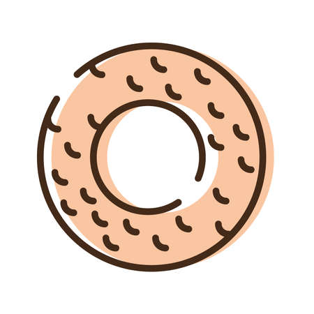 sweet donut line and fill style icon vector illustration design
