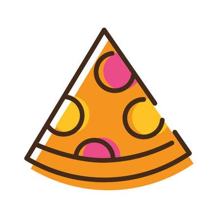 delicious italian pizza fast food line and fill style icon vector illustration design